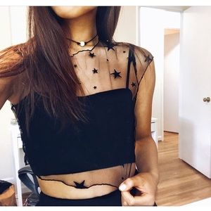 Black star mesh crop top xs